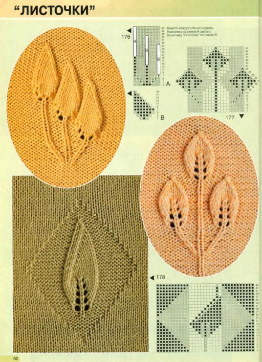 Ажурные листики спицами - вертикальный ювелирный орнамент с листьями. . Этот орнамент можно использовать в изделии