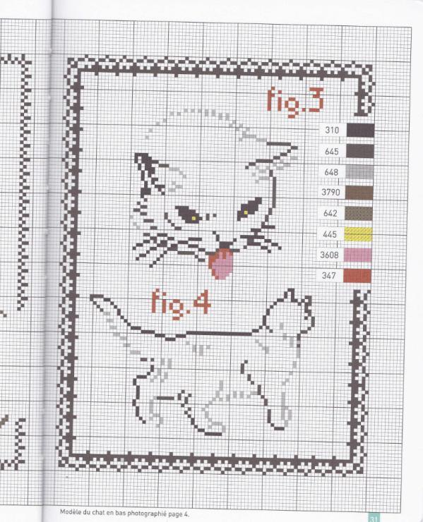 Контурная вышивка кошек