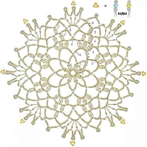 Кончики салфетки, в местах, где на схеме указаны треугольники, нужно украсить бисером.  Когда салфетка будет связана...