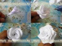 Цветоножку и стебель розы, обматываем атласной лентой. .  При обмотке стебля можно вставить...