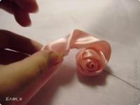 Мастер-класс Цумами Канзаши Шитьё Роза как делаю её я МК Ленты фото 17.