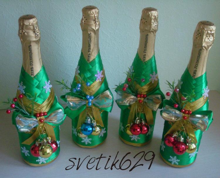 Украшаем шампанское на подарок 67