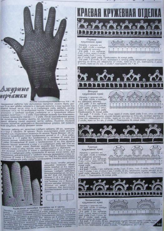 схема вязания перчаток ажурных