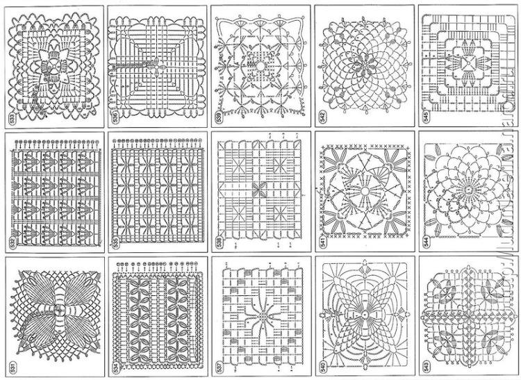 Квадратные мотивы крючком со схемами и. туники вязанные крючком схемы бесплатно.