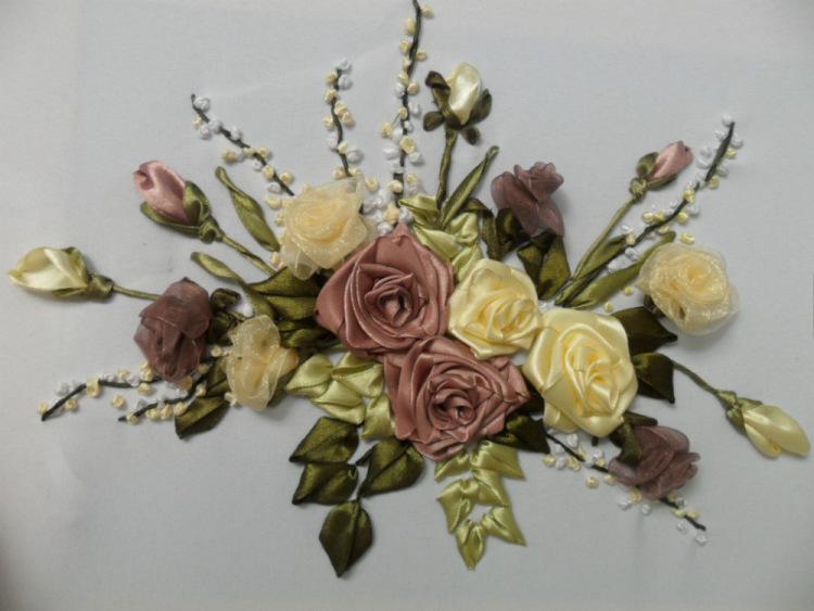 Вышиваем розы из атласных лент своими руками мастер класс