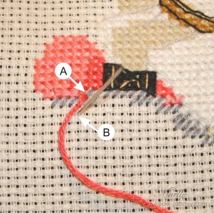 Выкладной шов в вышивке 64