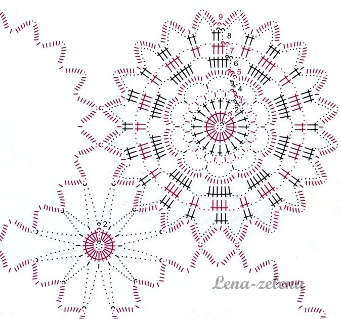 Салфетка из розеток крючком схема вязание. salfetki (1