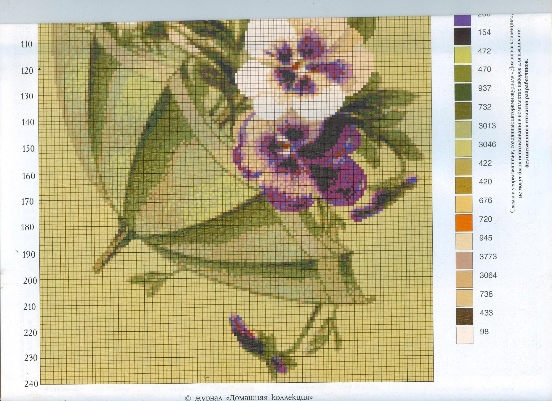 Вышивка крестом зонтик с цветами схемы 53