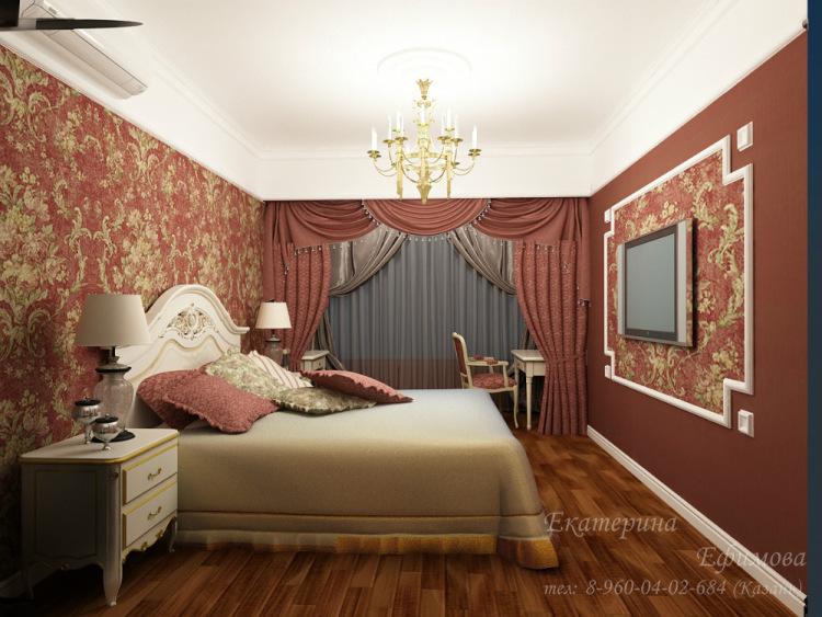 интерьер комнаты с бордовыми обоями